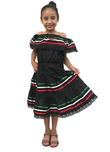 [Leos Imports (TM) Girls Mexico Dress (Ages 12, Black)] (Cinco De Mayo Dress)