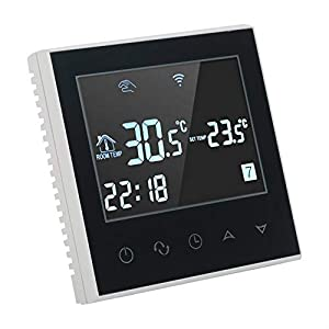 Asixx Wi-Fi Thermostat, 110V Wireless Programmable Thermostat with Digital LCD Touch Screen for Motorized Valve, Thermal Valve, Solenoid Valve and Electric Under-Floor Heating, App Control(Black)