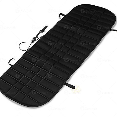 Zone Tech Heated Rear Seat Cushion - Black Premium Quality 12V Heating Warmer Rear Pad Hot Cover Perfect for Cold Weather and Winter Driving