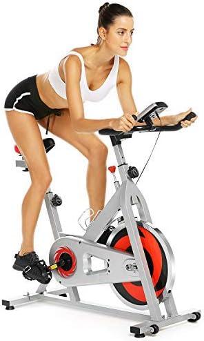 Profun Bicicleta Estática de Spinning Profesional, Ajustable Resistencia, Pantalla LCD, Bicicleta Fitness de Gimnasio Ejercicio con Volante de Inercia, Sillín Ajustable, Máx.130kg (Blanco+Rojo): Amazon.es: Deportes y aire libre