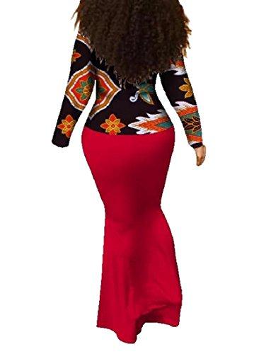Impostare Floreale 2pcs Avvolgere Batik Vestito Coolred 23 Sottile Maxi donne Bodycon Africane Hqw4EYwX