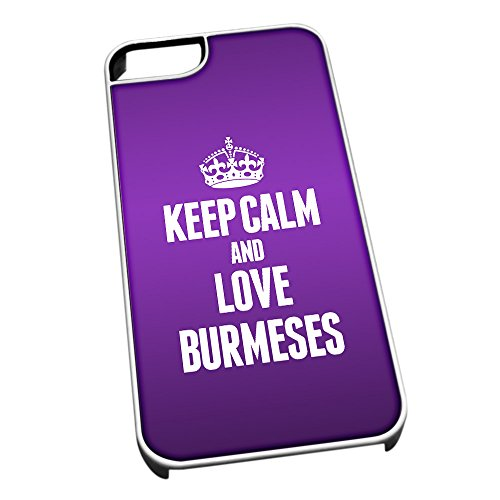 Bianco cover per iPhone 5/5S 2098 viola Keep Calm and Love Burmeses