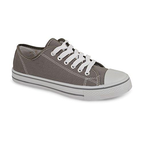 Damen Low Top Fashion Leinwand Sneaker Dunkelblau / Schwarz / Rot / Türkis / Rosa / Weiß Dunkelgrau