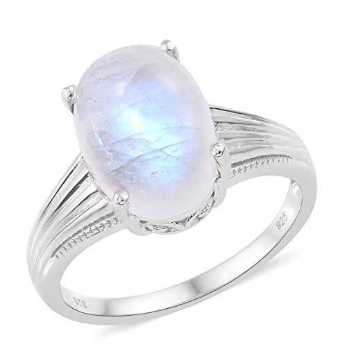 Solitaire Ring 925 Sterling Silver Platinum Plated Oval Rainbow Moonstone Gift Jewelry for Women Size 9