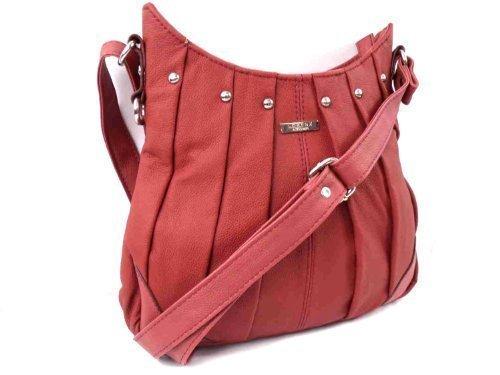 Leather Emporim, Borsa tote donna rosso rosso