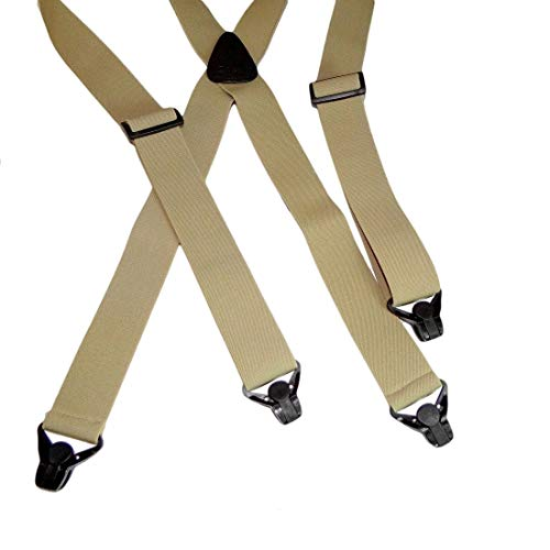 Holdup XL Big and tall mans No-buzz Airport Friendly TAN Suspenders in 1 1/2 width and patented black strong plastic Gripper Clasps