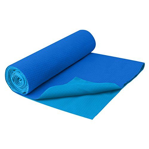 Gaiam No-Slip Yoga Mat Towel, Deep Blue