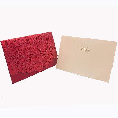 1pcs Gold White Red Luxury Flora Laser Cut Wedding Invitations Card Elegant Wedding Envelopes Event Party Wedding Decoration -