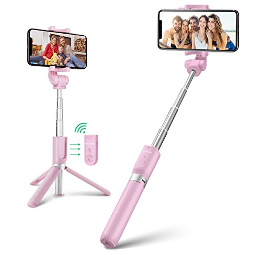 Bluetooth Selfie Stick Tripod with Wireless Remote for iPhone x 8 6 7 plus Android Samsung Galaxy S7 S8 Plus BlitzWolf 3 in 1 Mini Pocket Extendable Monopod Aluminum Alloy 360 Degree Rotation (Pink) by BlitzWolf