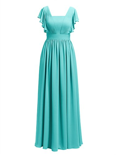 Dresses Dress Formal Alicepub Bridesmaid Vintage Flutter Aqua Chiffon Blue Sleeve Women's xgZwgtqS