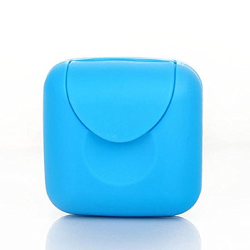 2Pieces Mini Small Plastic Travel Buckle Lid Portable Soap Case Holder Container Box Home Outdoor Hiking Camping Travel Portable Tools (Blue)
