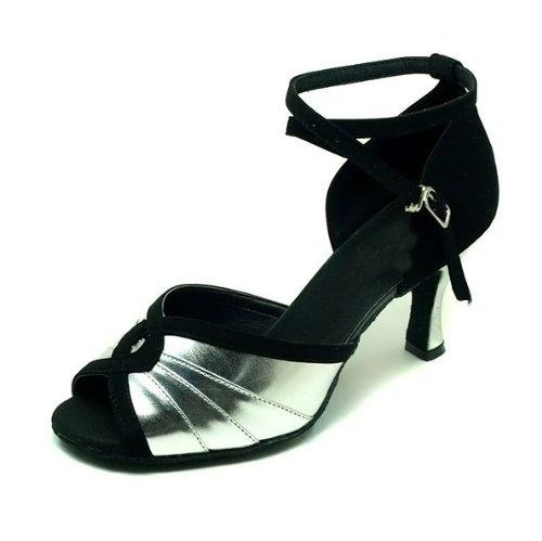 Colorfulworldstore Zapatos de baile latino en terciopelo negro con hebilla plateada de poliuretano Negro y plateado