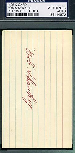 BOB SHAWKEY PSA DNA COA Autograph 3x5 Signed Index Card