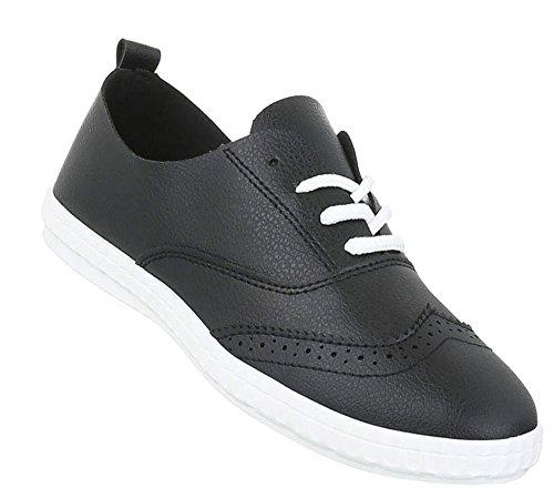 Damen Sneakers sportlich | Sportschuhe Schnürer | Freizeitschuhe weiße Sohle | Schuhe Budapester Style | Turnschuhe Low | Schuhcity24 Schwarz