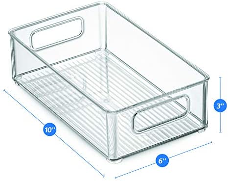 """41Sf5lID0gL. AC Set Of 6 Refrigerator Organizer Bins - Stackable Fridge Organizers with Cutout Handles for Freezer, Kitchen, Countertops, Cabinets - Clear Plastic Pantry Food Storage Rack    Keep your refrigerator, freezer, countertops, kitchen cabinet or pantry neatly organized with these stackable fridge organizer pantry storage bins. Ideal sized to fit fruits, vegetables yogurts, canned goods, food packets, cheese, meat, also good for storing dry goods in the pantry. Ideal for kitchens, countertops, pantry shelves, refrigerators, freezers, cabinets, or as drawer organizers. Practical Stackable design to help maximize your space. Stack or use them side by side to keep items organized and easy to find. Each bin measures Approx. 10"""" L × 6"""" W × 3"""" H. Great for closets, bedrooms, bathrooms, laundry rooms, craft rooms, mudrooms, offices, play rooms, garages, or any room of your home / apartment / condo / dorm room / RV or camper. Made of durable high quality 100% food safe BPA Free shatter-resistant plastic Designed with practical carry handles and interior non slip texture, clean with warm soapy water. Do not place in dishwasher"""