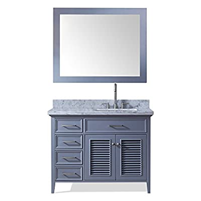 "Ariel D043S-R-GRY Kensington 43"" Right Offset Single Sin Bathroom Vanity Set in Grey With Carrara Marble Countertop"