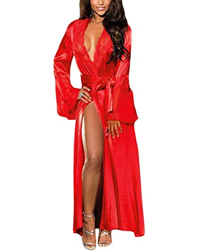 XAKALAKA Womens Long Robe Kimono Satin Gown Lingerie Red XL]()