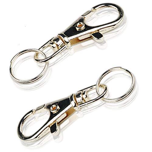 Feeko Keychain, 2 Metal Keychain Lobster Buckle Keychains Key Ring Silver (Lobster Gram Gift)