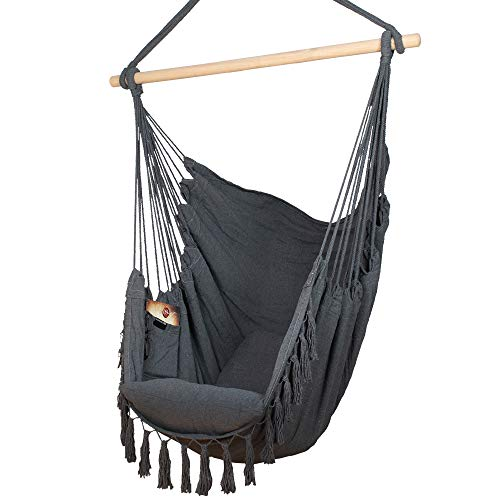 Komorebi Hammock Chair | Hanging Rope Swing Seat for Indoor & Outdoor | Soft & Durable Cotton Canvas...