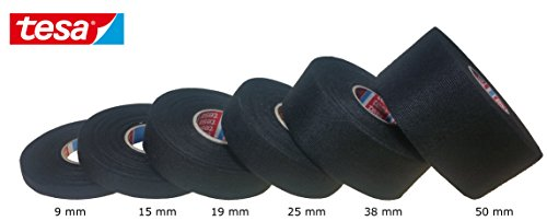 Tesa Gewebeband PET-Vlies 51608 Isolierband für Kabelbäume Baumwolle Klebeband (15mm x 25m)