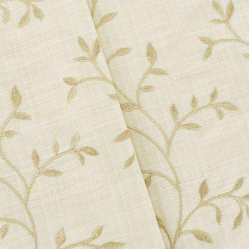 Beige/Ivory Leaf Vine Embroidered Slub Woven Decor Fabric, Fabric by The Yard