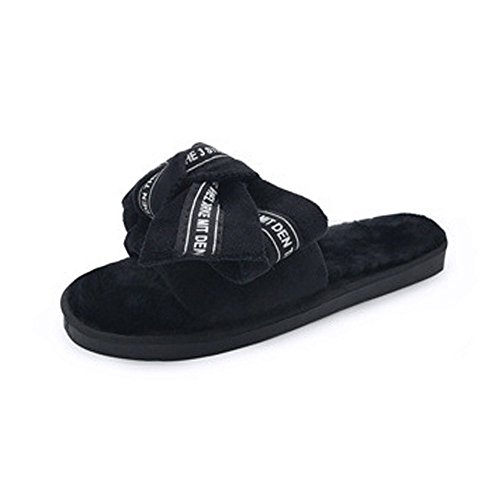Non LINGMIN Cute Comfort Velvet Decorate Women's Slip Black01 Slippers Bowtie xrZYFtZn