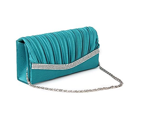 Parkinoon elegante borsa da sera pochette da Shape Lady W/Spalla catena strass raso (colore: Blu lago)