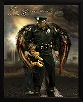 Image Conscious The Difference Between Us and Them by James Bullard Police Officer and Child Framed Art Picture, 17×23