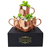 Moscow Mule Hammered Copper Mugs by Copper and Mill- Gift Box Set of Copper Cups Stainless-Steel Lining Ice Cold Cocktails Beer Soda- Handcrafted for Cold Drinks- 16 ounce Barware Kit for home or bar