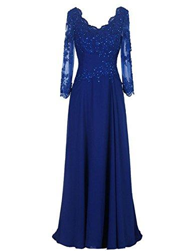 Cord¨®n en real de Mangas Vestidos Paseo Madre largas Vestidos la Formal Escarpado novia V HUINI Cuello Azul 0Uq5PII