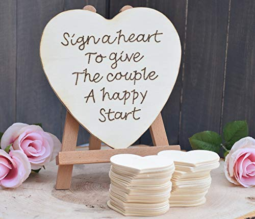 (Sign a Heart to Give the Couple a Happy Start Guest Book Alternative - Rustic Wedding - Guest Book - Rustic Guest Book - Wedding Guest Book - Wedding Wishing Well)