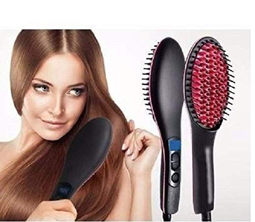 Naivete Simply 2 in 1 Straight Ceramic Hair Straightener Brush, Curler and Styler Brushes  Medium, Multicolour