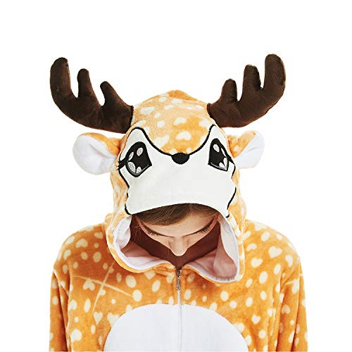 Adult Animal Deer Pajama Onesie - Soft and Comfortable with Pockets (S (Height:4'9''-5'2''/146cm-157cm), A-Reindeer) ()