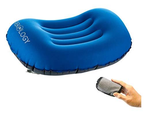 Inflatable Comfort Travel Pillows - Trekology ALUFT Comfort Ultralight Inflating Travel/Camping Air Pillows (deep Blue)