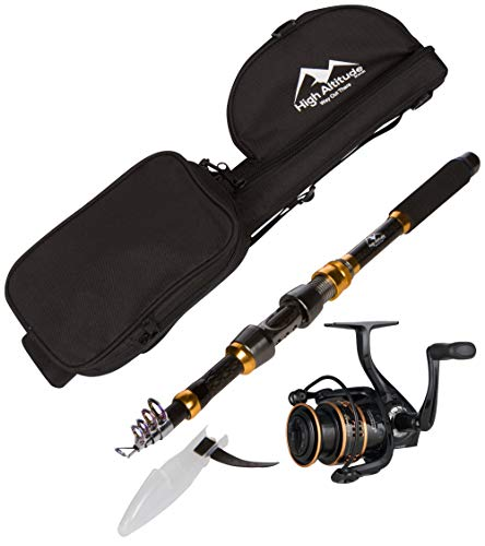 High Altitude Lightweight 6.5 Foot Telescopic Fishing Pole with Backpacking Case and Abu Garcia Spinning Reel Rod Combo