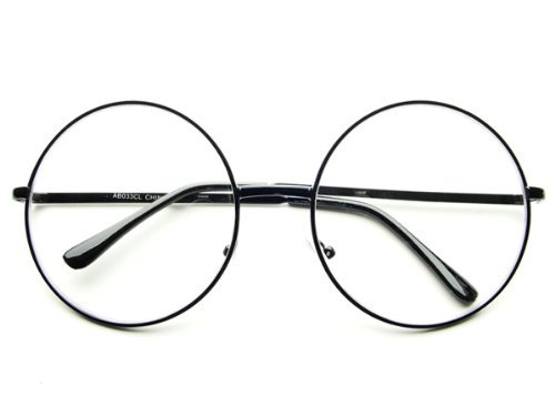 Oversized Large Clear Lens Retro Round Circle Glasses Eyeglasses (Black) by - Eyeglass Stores Dc