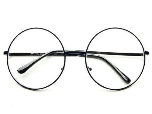 Oversized Large Clear Lens Retro Round Circle Glasses Eyeglasses (Black) by - Eyeglass Dc Stores