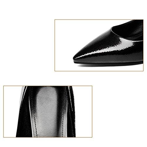 áspero Zapatos ocupación black tacón Golden Auspicious de brillante cuero de mujer talón XIE punta Cómodo de superficial boca alto Animal talón zapatos 8dxBBwf