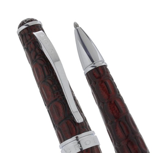 (Cross Executive Style Genuine Textures and Bordeaux Croc Embossed Italian Leather Ball Pen. Imagine a Leather Pen from Cross Stable.)