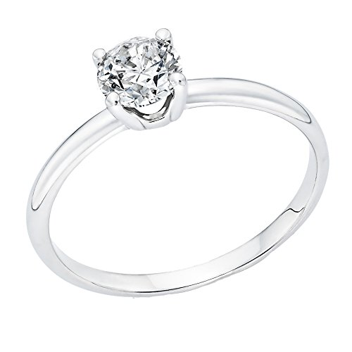 0.60 ct. Round Diamond Solitaire Engagement Ring in 14k White Gold