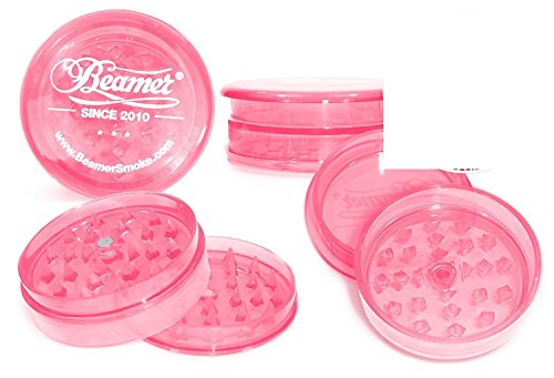 Neon Hot Pink Beamer 62mm 3 Piece 55 Pyramid Shaped Teeth (Prevents Breaks) VIRGIN ACRYLIC Grinder / Spice Mill with Storage Compartment, Neodymium Magnet. Tobacco Coffee Herbs Spices + Beamer Sticker (Water Pipe Pink)