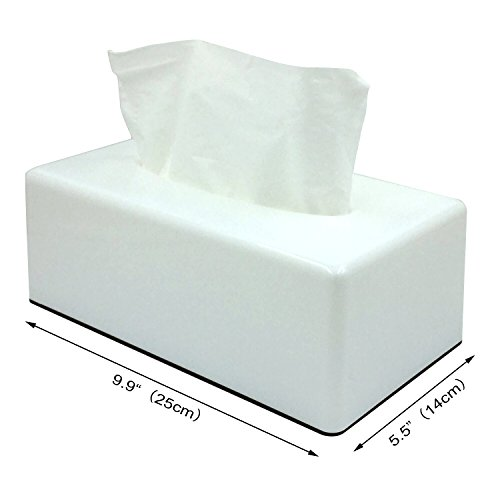 PREMIUM QUALITY Facial Tissue Box Cover/Holder paper dispenser cube tissue box for Your Home, Bathroom ,Office and Car-Matte Black (White) (Tissue Dispenser Plastic)