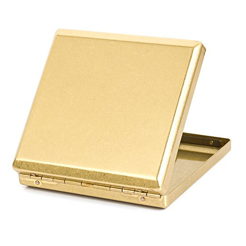 Pure Copper Brass Metal Cigarette Case Holder Box Cardcase Holds 20 cigarettes (Type 1) (Holds Fluid)