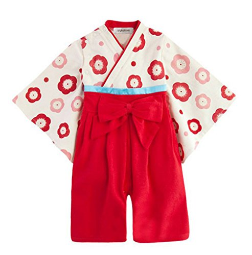 [StylesILove Baby Girl Floral Kimono Costume Jumpsuit, Red, 6-12 Months/80] (Red Jumpsuit Costume)