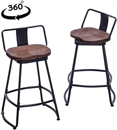 """Yongqiang Swivel 24"""" Metal Bar Stools Set of 2 Low Back Kitchen Dinng Bar Chairs with Wooden Seat Industrial Counter Stools Matte Black"""