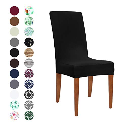 Obstal Black Stretch Spandex Dining Room Chair Covers - Set of 4 Universal Removable Washable Chair Seat Slipcovers Protector for Kitchen, Ceremony, Wedding, Banquet, Hotel and Party