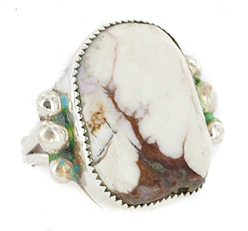 Handmade Navajo .925 Sterling Silver Certified Authentic Natural White Buffalo Turquoise Native American Ring