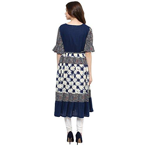 Indian Virasat Womens Printed Anarkali Kurti Tunic With Calf Length Medium Blue by Indian Virasat (Image #1)
