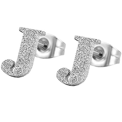 Flongo Stainless Letters Alphabet Earrings