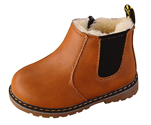 17 Eyelets 3 Zipper - Happy Cherry Girls Boys Martin Boots Children Kids Warm Martens Snow Shoes Lace-up Ankle Boots with Fur Size 22 Brown